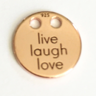 18K Rose Gold Plated Sterling Silver Live Laugh Love Disc Charm